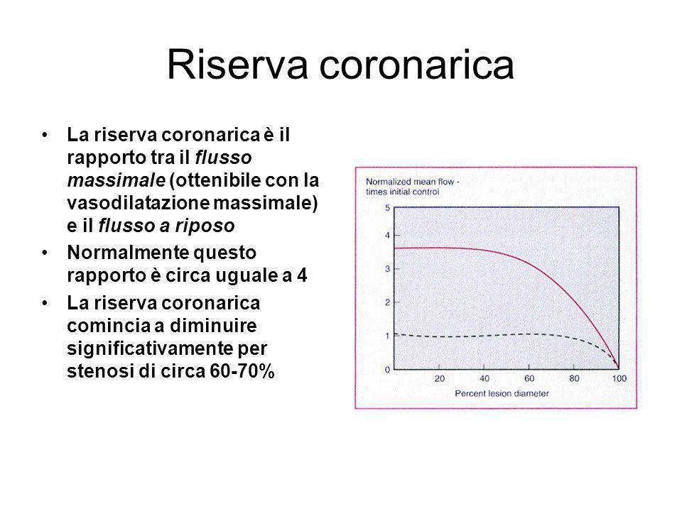 Riserva coronarica La riserva coronarica è il rapporto tra il flusso massimale (ottenibile con la vasodilatazione massimale) e il flusso a riposo Norm