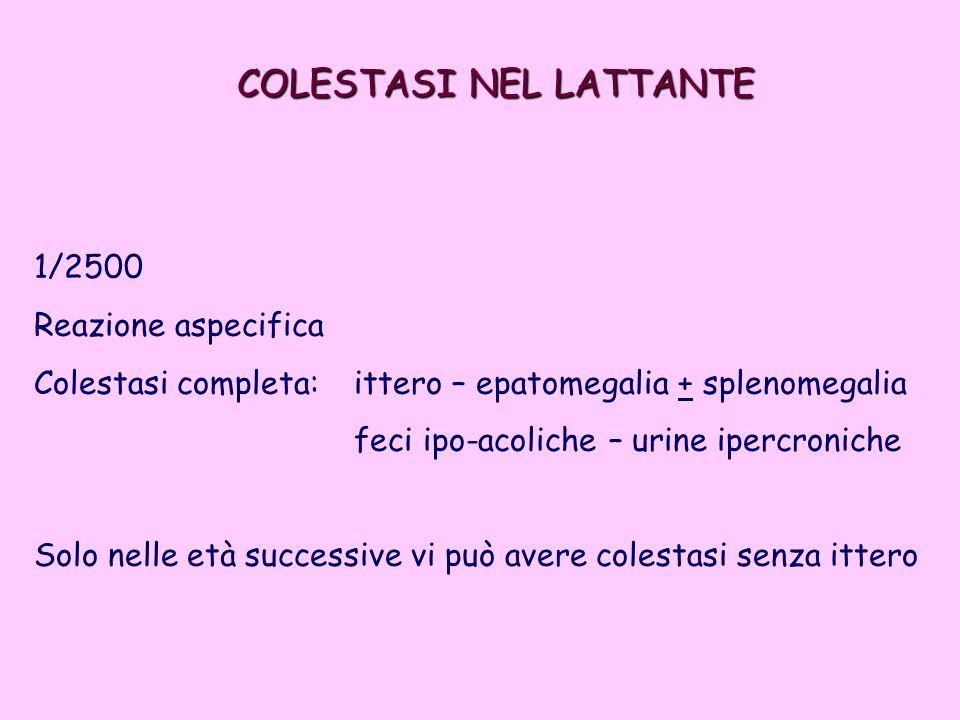 1/2500 Reazione aspecifica Colestasi completa: ittero – epatomegalia + splenomegalia feci ipo-acoliche – urine ipercroniche Solo nelle età successive