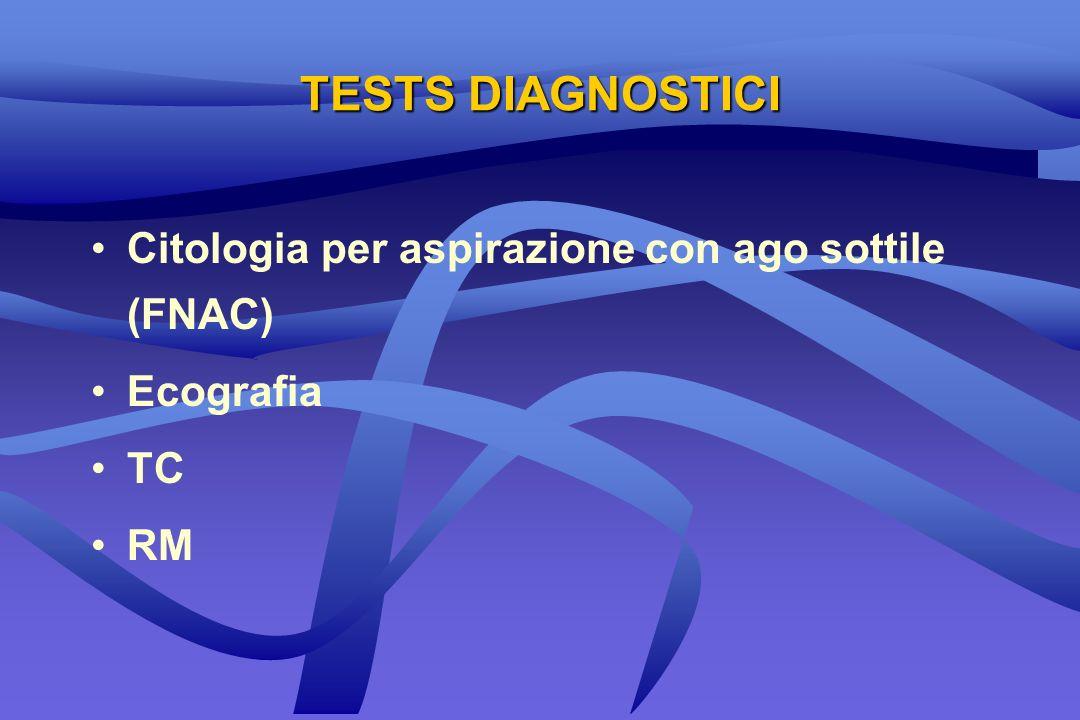 TESTS DIAGNOSTICI Citologia per aspirazione con ago sottile (FNAC) Ecografia TC RM