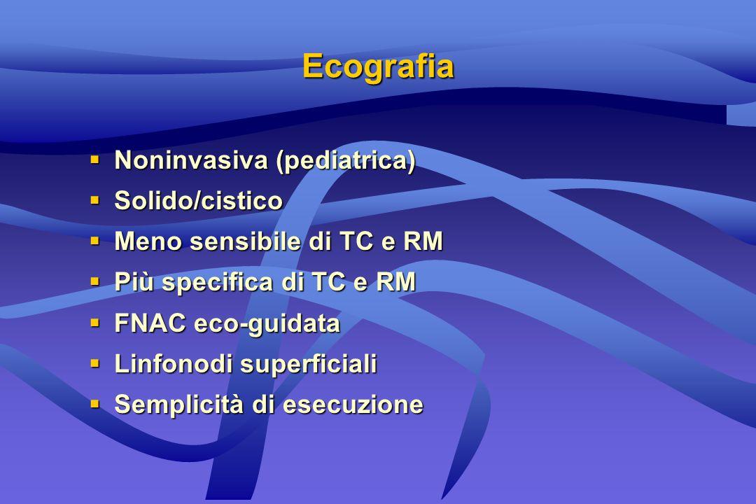 Ecografia Noninvasiva (pediatrica) Noninvasiva (pediatrica) Solido/cistico Solido/cistico Meno sensibile di TC e RM Meno sensibile di TC e RM Più spec