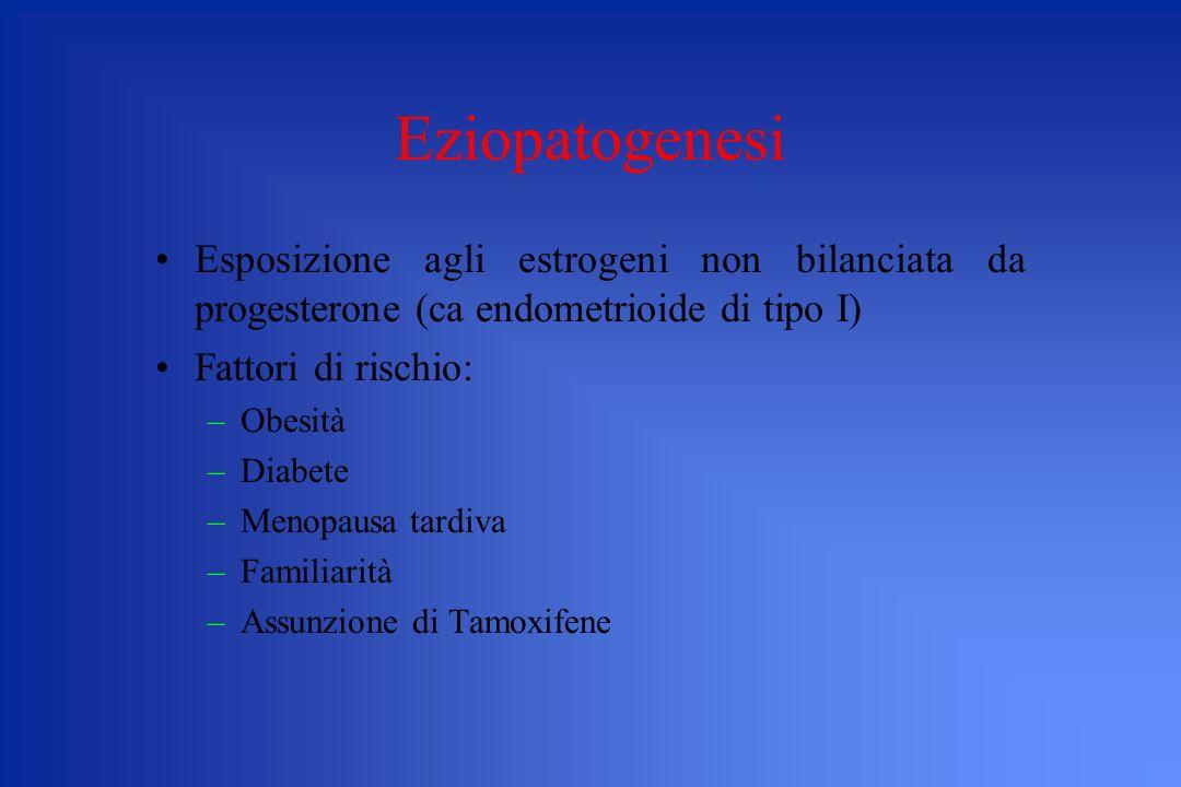 Eziopatogenesi Esposizione agli estrogeni non bilanciata da progesterone (ca endometrioide di tipo I) Fattori di rischio: –Obesità –Diabete –Menopausa
