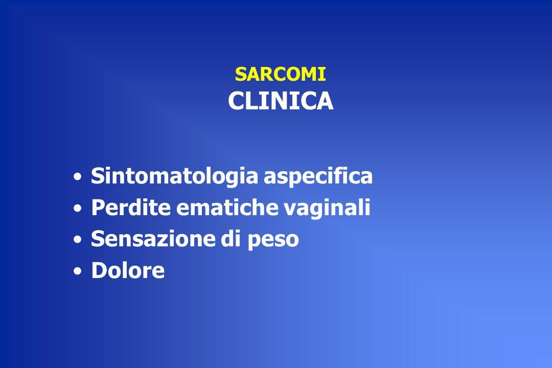 SARCOMI CLINICA Sintomatologia aspecifica Perdite ematiche vaginali Sensazione di peso Dolore