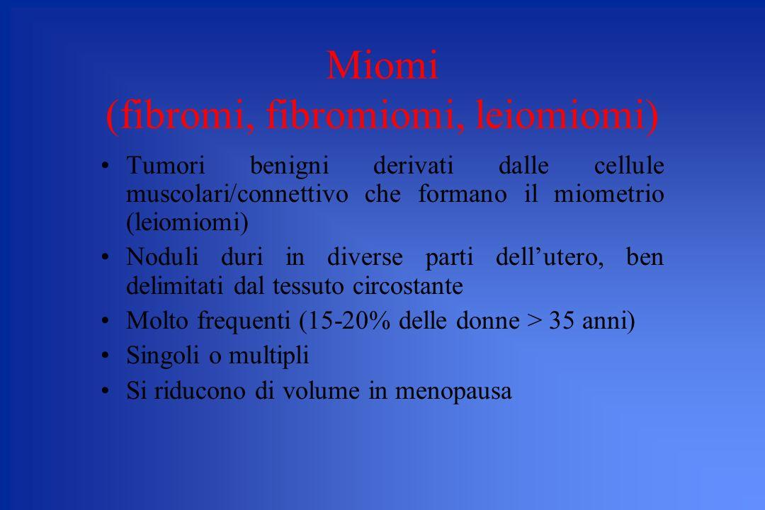 Miomi (fibromi, fibromiomi, leiomiomi) Tumori benigni derivati dalle cellule muscolari/connettivo che formano il miometrio (leiomiomi) Noduli duri in