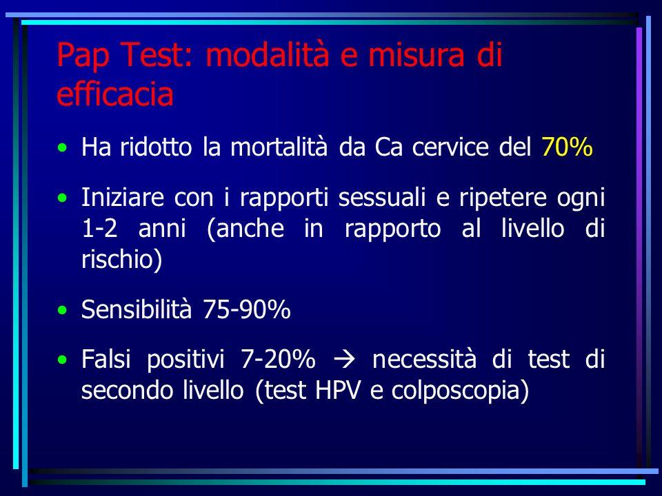 Pap Test: modalità e misura di efficacia Ha ridotto la mortalità da Ca cervice del 70% Iniziare con i rapporti sessuali e ripetere ogni 1-2 anni (anche in rapporto al livello di rischio) Sensibilità 75-90% Falsi positivi 7-20% necessità di test di secondo livello (test HPV e colposcopia)