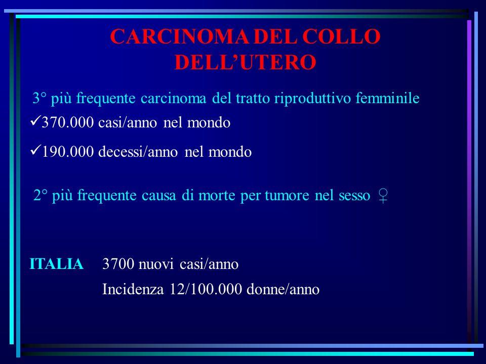 CARCINOMA DEL COLLO DELLUTERO 3° più frequente carcinoma del tratto riproduttivo femminile 370.000 casi/anno nel mondo 190.000 decessi/anno nel mondo 2° più frequente causa di morte per tumore nel sesso ITALIA 3700 nuovi casi/anno Incidenza 12/100.000 donne/anno