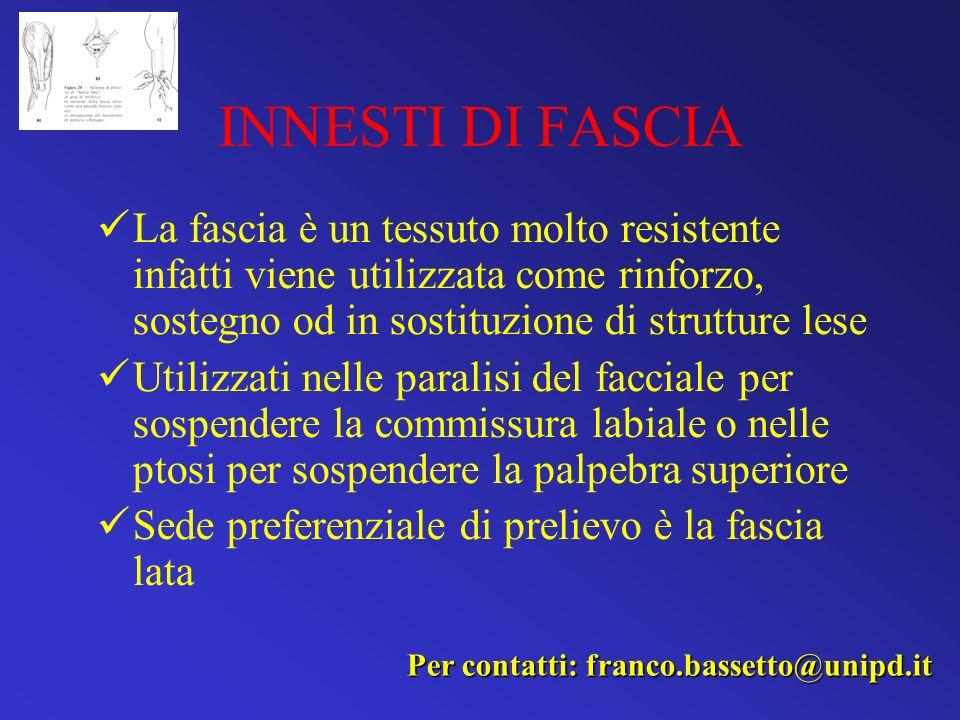 INNESTI DI FASCIA La fascia è un tessuto molto resistente infatti viene utilizzata come rinforzo, sostegno od in sostituzione di strutture lese Utiliz