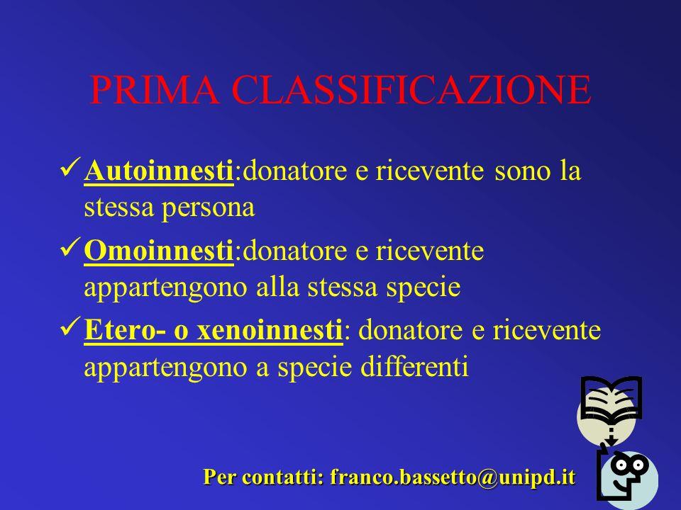 PRIMA CLASSIFICAZIONE Autoinnesti:donatore e ricevente sono la stessa persona Omoinnesti:donatore e ricevente appartengono alla stessa specie Etero- o