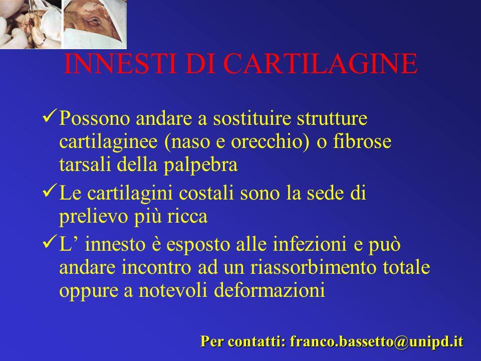 INNESTI DI CARTILAGINE Possono andare a sostituire strutture cartilaginee (naso e orecchio) o fibrose tarsali della palpebra Le cartilagini costali so