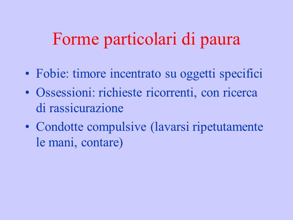 Forme particolari di paura Fobie: timore incentrato su oggetti specifici Ossessioni: richieste ricorrenti, con ricerca di rassicurazione Condotte compulsive (lavarsi ripetutamente le mani, contare)