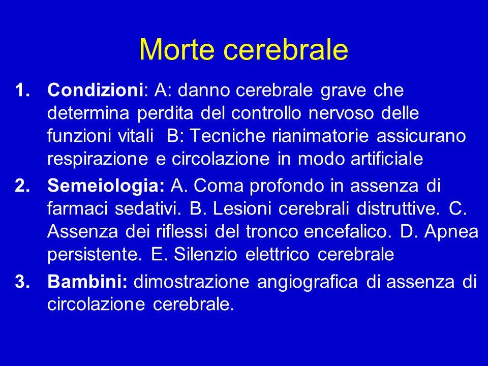 Morte cerebrale 1.Condizioni: A: danno cerebrale grave che determina perdita del controllo nervoso delle funzioni vitali B: Tecniche rianimatorie assi