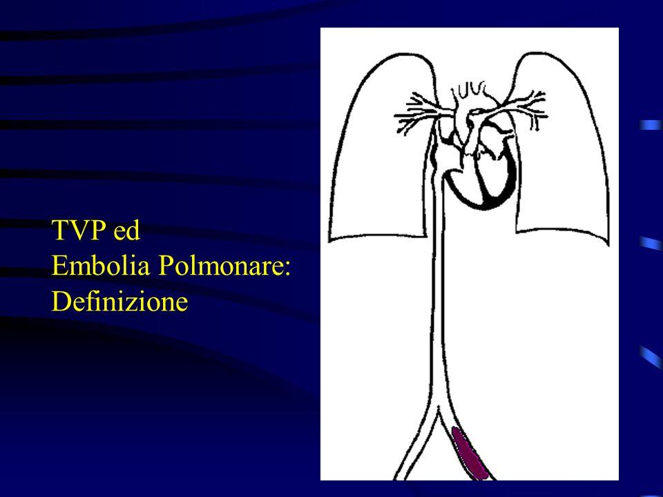TVP Sintomi & Segni NON SPECIFICI o ASSENTI Dolore Tensione Edema DD: crampi o strappi muscolari, rottura cisti poplitea, contusioni, artriti anca-ginocchio, gotta, tendiniti.