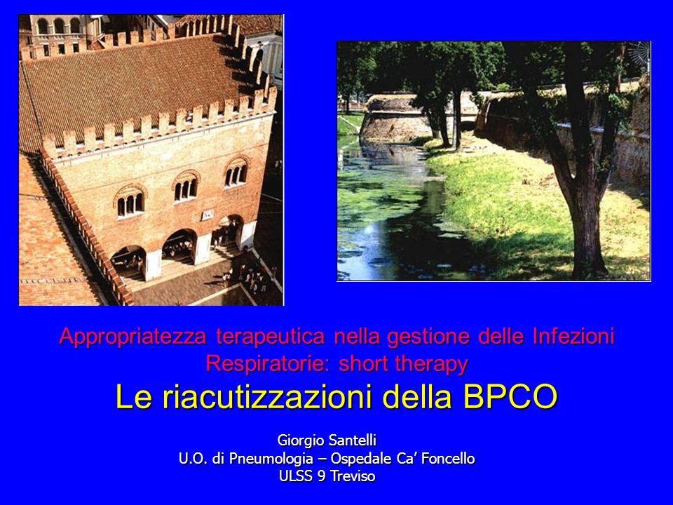 Appropriatezza terapeutica nella gestione delle Infezioni Respiratorie: short therapy Le riacutizzazioni della BPCO Giorgio Santelli U.O.