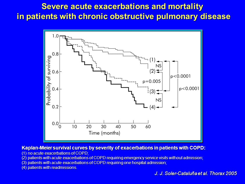 Kaplan-Meier survival curves by severity of exacerbations in patients with COPD: (1) no acute exacerbations of COPD; (2) patients with acute exacerbat