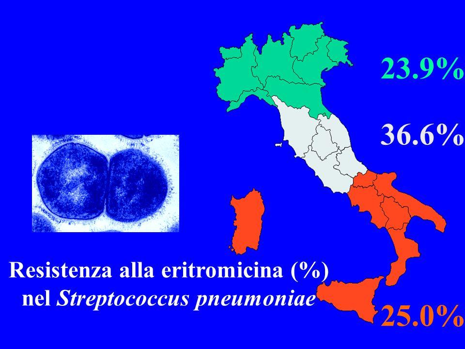 23.9% 36.6% 25.0% Resistenza alla eritromicina (%) nel Streptococcus pneumoniae