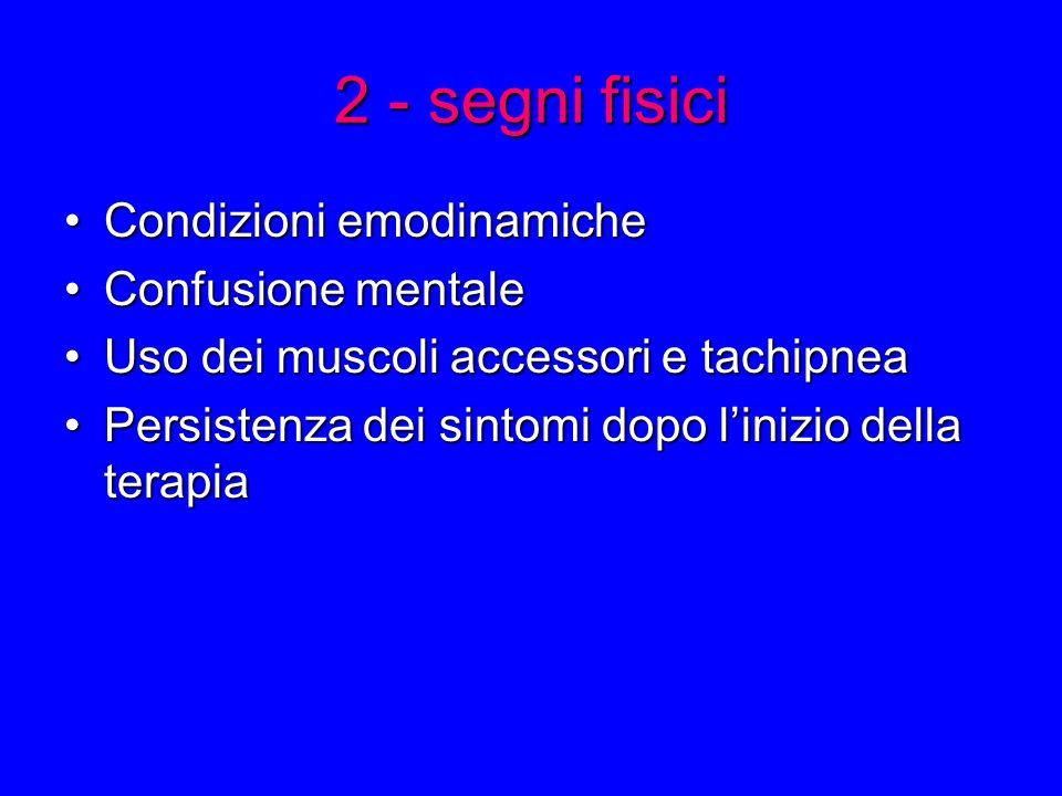 2 - segni fisici Condizioni emodinamicheCondizioni emodinamiche Confusione mentaleConfusione mentale Uso dei muscoli accessori e tachipneaUso dei muscoli accessori e tachipnea Persistenza dei sintomi dopo linizio della terapiaPersistenza dei sintomi dopo linizio della terapia