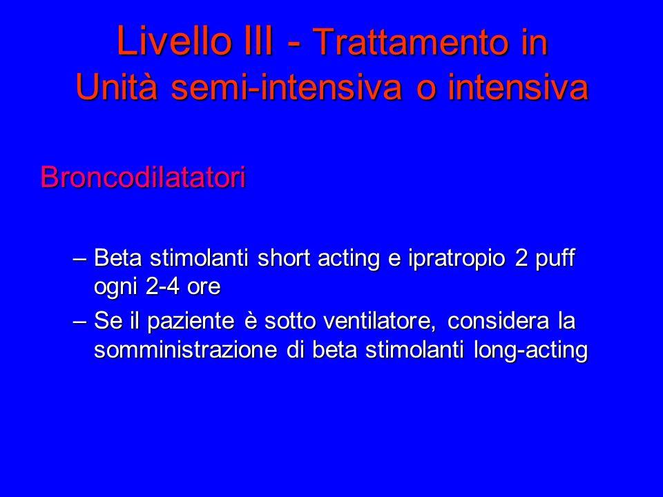 Livello III - Trattamento in Unità semi-intensiva o intensiva Broncodilatatori –Beta stimolanti short acting e ipratropio 2 puff ogni 2-4 ore –Se il paziente è sotto ventilatore, considera la somministrazione di beta stimolanti long-acting