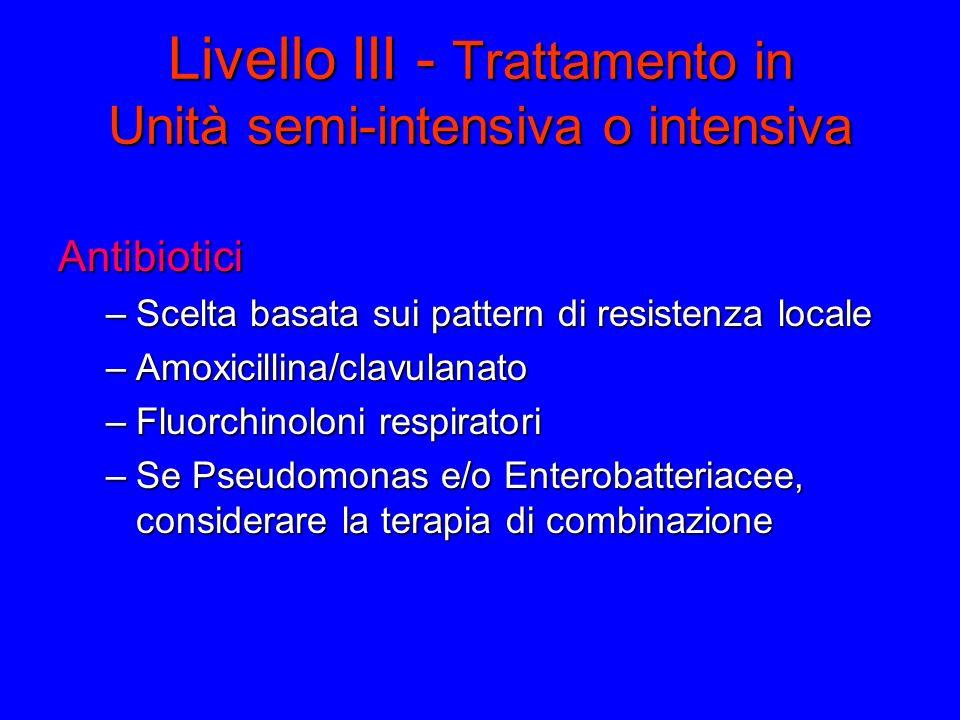 Livello III - Trattamento in Unità semi-intensiva o intensiva Antibiotici –Scelta basata sui pattern di resistenza locale –Amoxicillina/clavulanato –Fluorchinoloni respiratori –Se Pseudomonas e/o Enterobatteriacee, considerare la terapia di combinazione