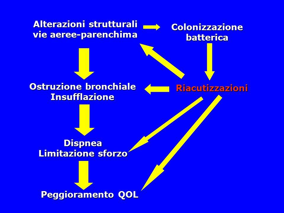 Alterazioni strutturali vie aeree-parenchima Colonizzazionebatterica Riacutizzazioni Ostruzione bronchiale Insufflazione Dispnea Limitazione sforzo Peggioramento QOL