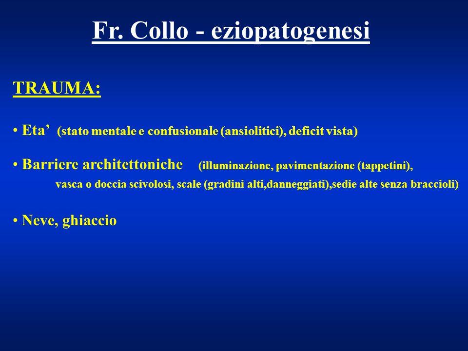 Fr. Collo - eziopatogenesi TRAUMA: Eta (stato mentale e confusionale (ansiolitici), deficit vista) Barriere architettoniche (illuminazione, pavimentaz