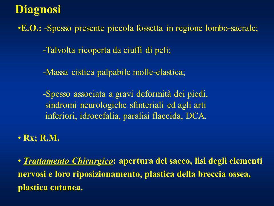 Diagnosi E.O.: -Spesso presente piccola fossetta in regione lombo-sacrale; -Talvolta ricoperta da ciuffi di peli; -Massa cistica palpabile molle-elast