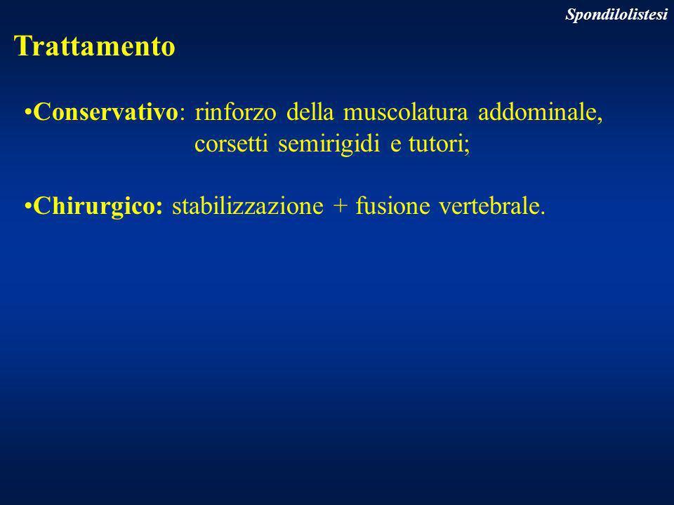 Trattamento Conservativo: rinforzo della muscolatura addominale, corsetti semirigidi e tutori; Chirurgico: stabilizzazione + fusione vertebrale. Spond