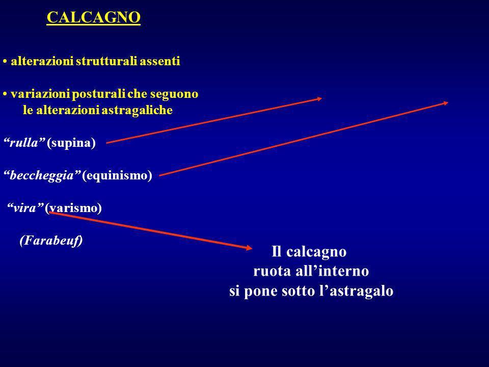 CALCAGNO alterazioni strutturali assenti variazioni posturali che seguono le alterazioni astragaliche rulla (supina) beccheggia (equinismo) vira (vari