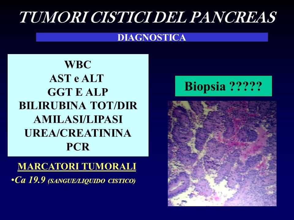 WBC AST e ALT GGT E ALP BILIRUBINA TOT/DIR AMILASI/LIPASI UREA/CREATININA PCR DIAGNOSTICA MARCATORI TUMORALI Ca 19.9 (SANGUE/LIQUIDO CISTICO) TUMORI CISTICI DEL PANCREAS Biopsia ?????