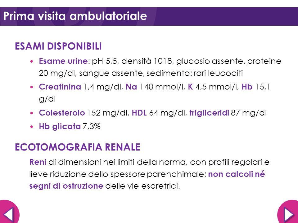 ESAMI DISPONIBILI Esame urine : pH 5,5, densità 1018, glucosio assente, proteine 20 mg/dl, sangue assente, sedimento: rari leucociti Creatinina 1,4 mg