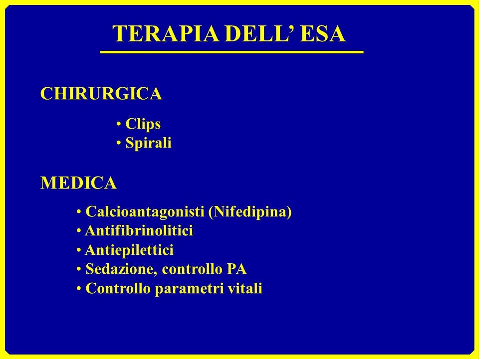 TERAPIA DELL ESA CHIRURGICA Clips Spirali MEDICA Calcioantagonisti (Nifedipina) Antifibrinolitici Antiepilettici Sedazione, controllo PA Controllo par