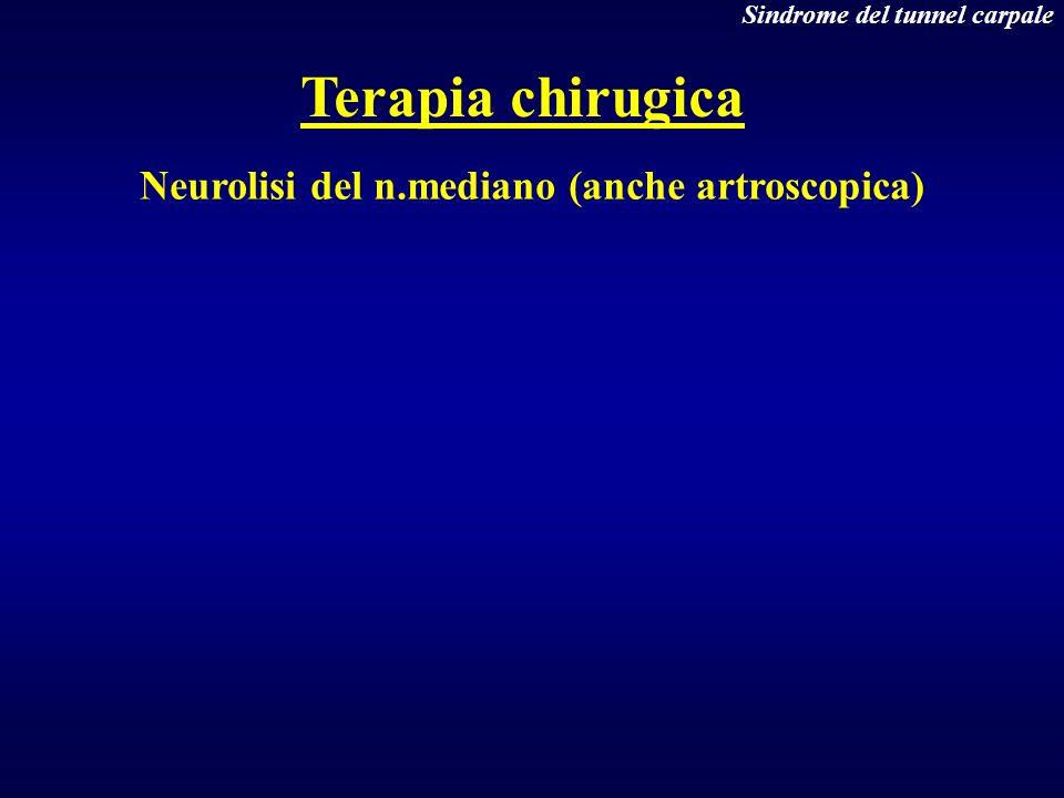 Neurolisi del n.mediano (anche artroscopica) Terapia chirugica Sindrome del tunnel carpale
