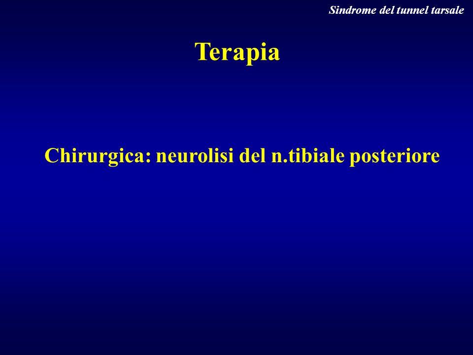 Chirurgica: neurolisi del n.tibiale posteriore Terapia Sindrome del tunnel tarsale