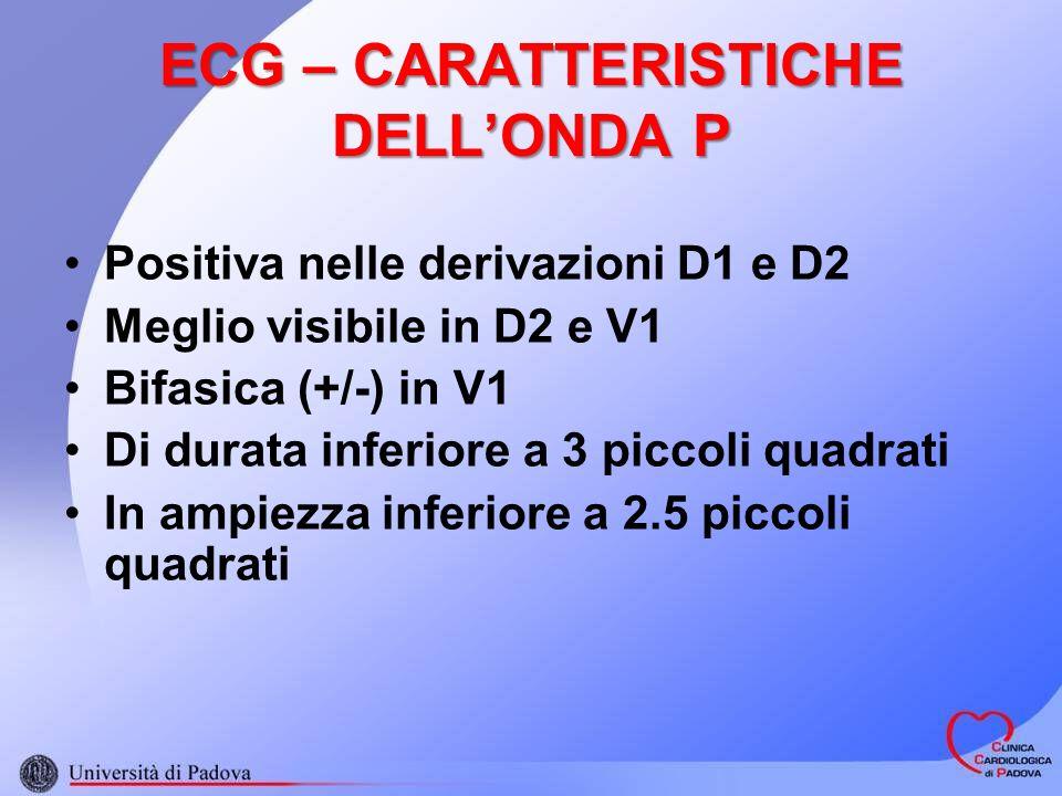 ECG – CARATTERISTICHE DELLONDA P Positiva nelle derivazioni D1 e D2 Meglio visibile in D2 e V1 Bifasica (+/-) in V1 Di durata inferiore a 3 piccoli quadrati In ampiezza inferiore a 2.5 piccoli quadrati