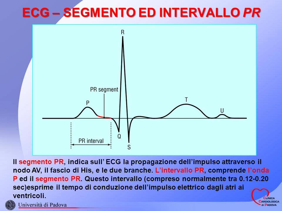 ECG – SEGMENTO ED INTERVALLO PR Il segmento PR, indica sull ECG la propagazione dellimpulso attraverso il nodo AV, il fascio di His, e le due branche.