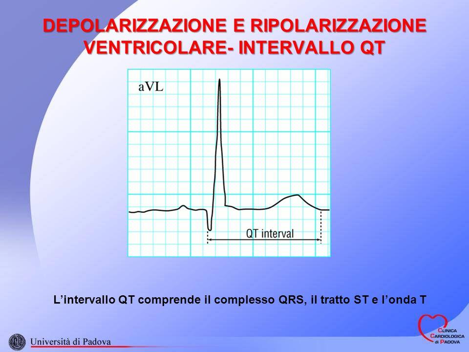 DEPOLARIZZAZIONE E RIPOLARIZZAZIONE VENTRICOLARE- INTERVALLO QT Lintervallo QT comprende il complesso QRS, il tratto ST e londa T