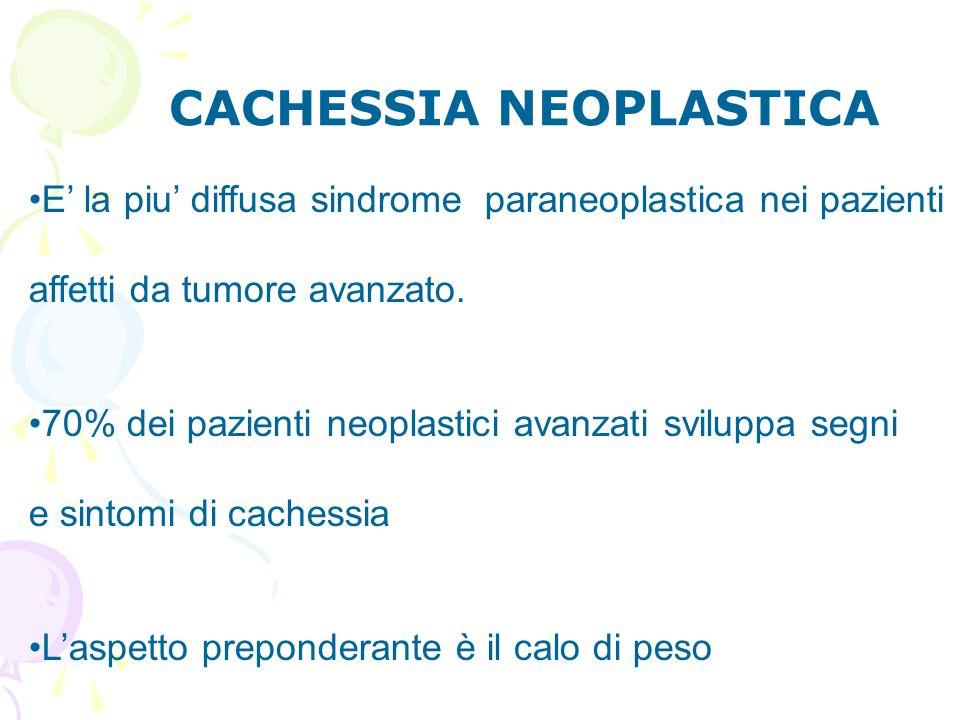 CACHESSIA NEOPLASTICA E la piu diffusa sindrome paraneoplastica nei pazienti affetti da tumore avanzato. 70% dei pazienti neoplastici avanzati svilupp