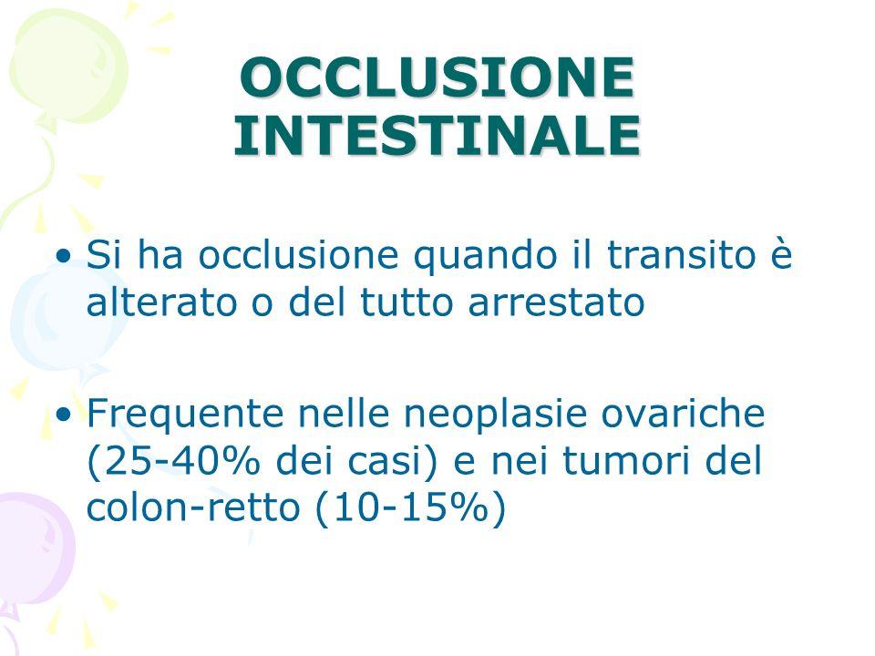 OCCLUSIONE INTESTINALE Si ha occlusione quando il transito è alterato o del tutto arrestato Frequente nelle neoplasie ovariche (25-40% dei casi) e nei