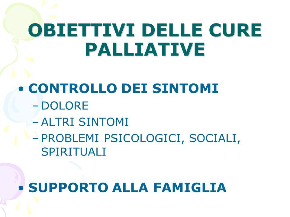 OBIETTIVI DELLE CURE PALLIATIVE CONTROLLO DEI SINTOMI –DOLORE –ALTRI SINTOMI –PROBLEMI PSICOLOGICI, SOCIALI, SPIRITUALI SUPPORTO ALLA FAMIGLIA