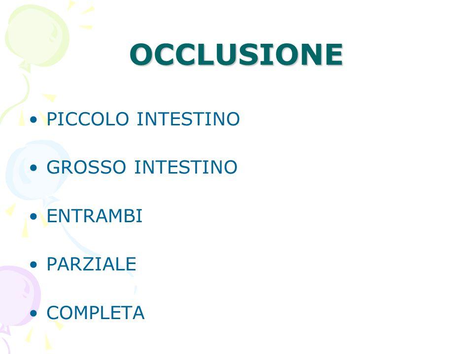 OCCLUSIONE PICCOLO INTESTINO GROSSO INTESTINO ENTRAMBI PARZIALE COMPLETA