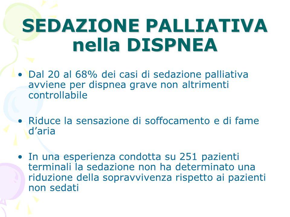 SEDAZIONE PALLIATIVA nella DISPNEA Dal 20 al 68% dei casi di sedazione palliativa avviene per dispnea grave non altrimenti controllabile Riduce la sen