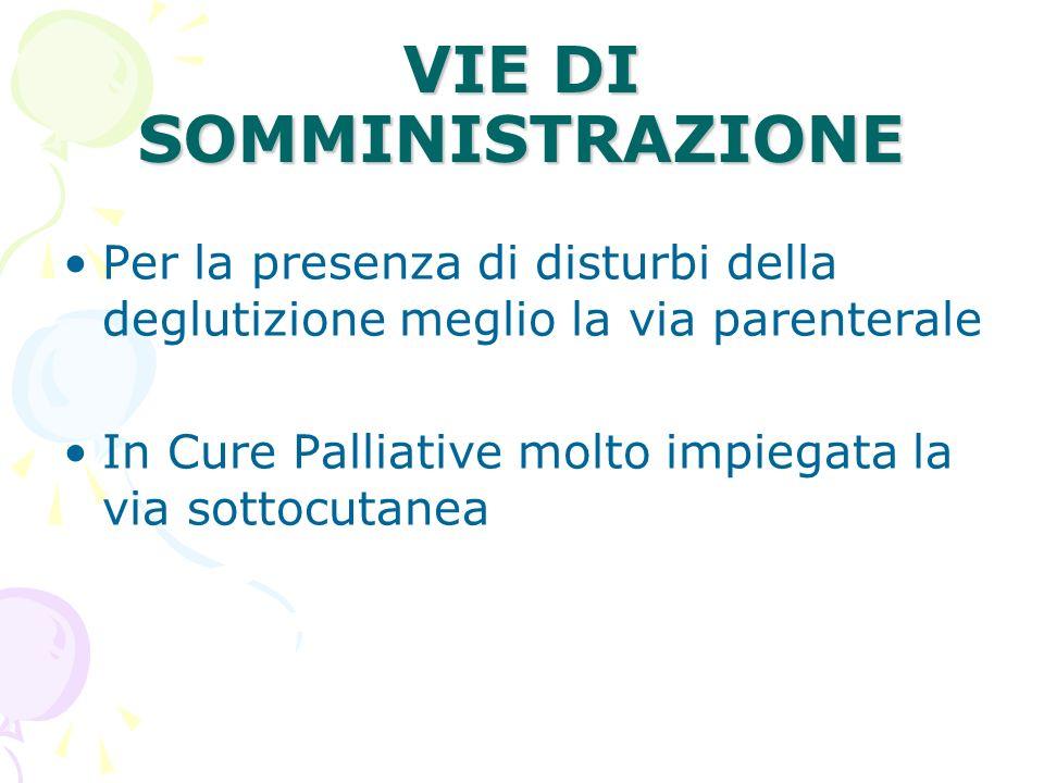 VIE DI SOMMINISTRAZIONE Per la presenza di disturbi della deglutizione meglio la via parenterale In Cure Palliative molto impiegata la via sottocutane