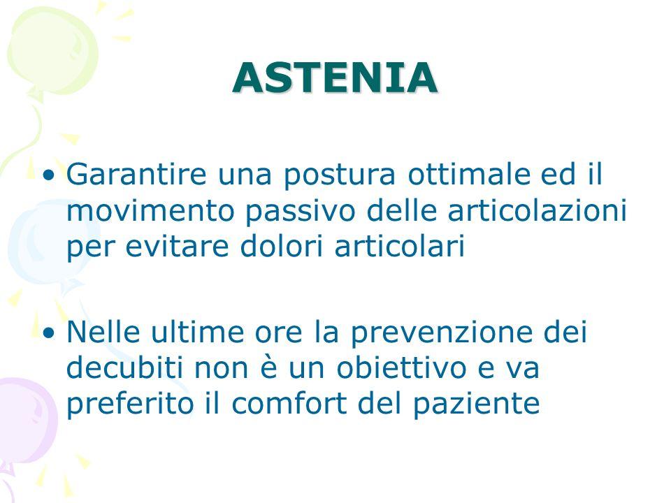 ASTENIA Garantire una postura ottimale ed il movimento passivo delle articolazioni per evitare dolori articolari Nelle ultime ore la prevenzione dei d