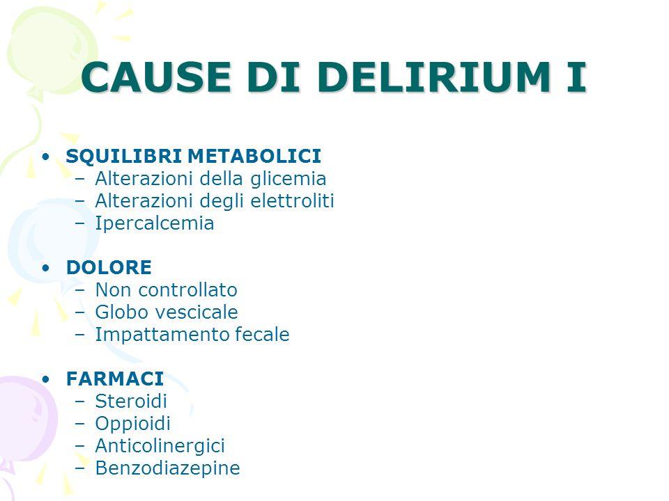 CAUSE DI DELIRIUM I SQUILIBRI METABOLICI –Alterazioni della glicemia –Alterazioni degli elettroliti –Ipercalcemia DOLORE –Non controllato –Globo vesci
