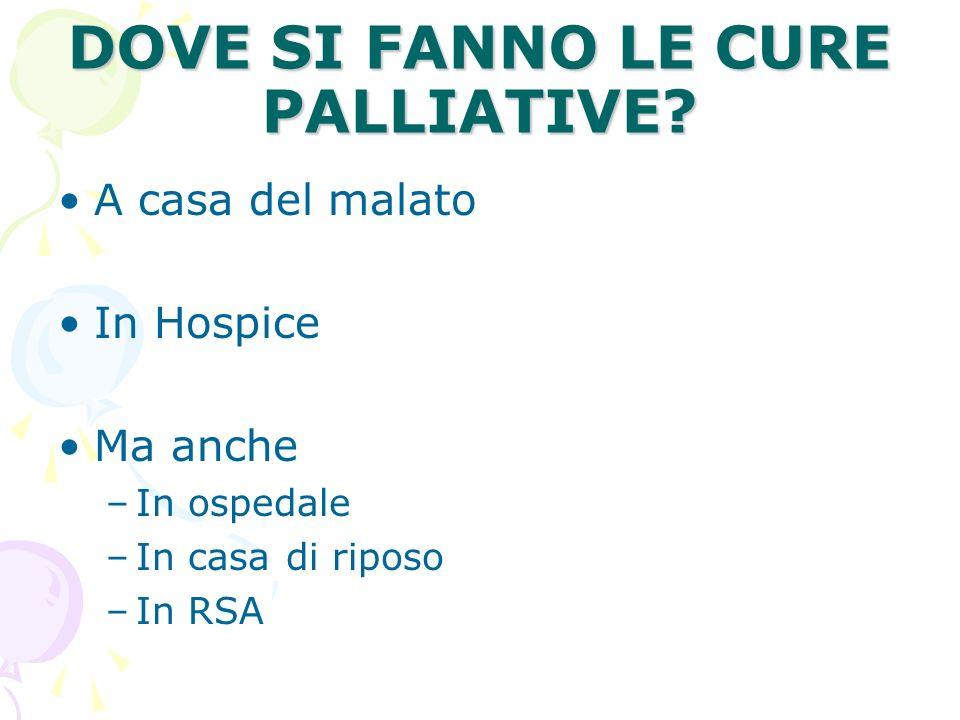 DOVE SI FANNO LE CURE PALLIATIVE? A casa del malato In Hospice Ma anche –In ospedale –In casa di riposo –In RSA