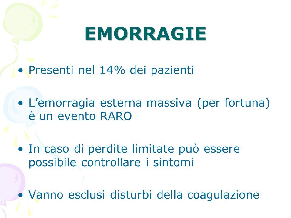 EMORRAGIE Presenti nel 14% dei pazienti Lemorragia esterna massiva (per fortuna) è un evento RARO In caso di perdite limitate può essere possibile con