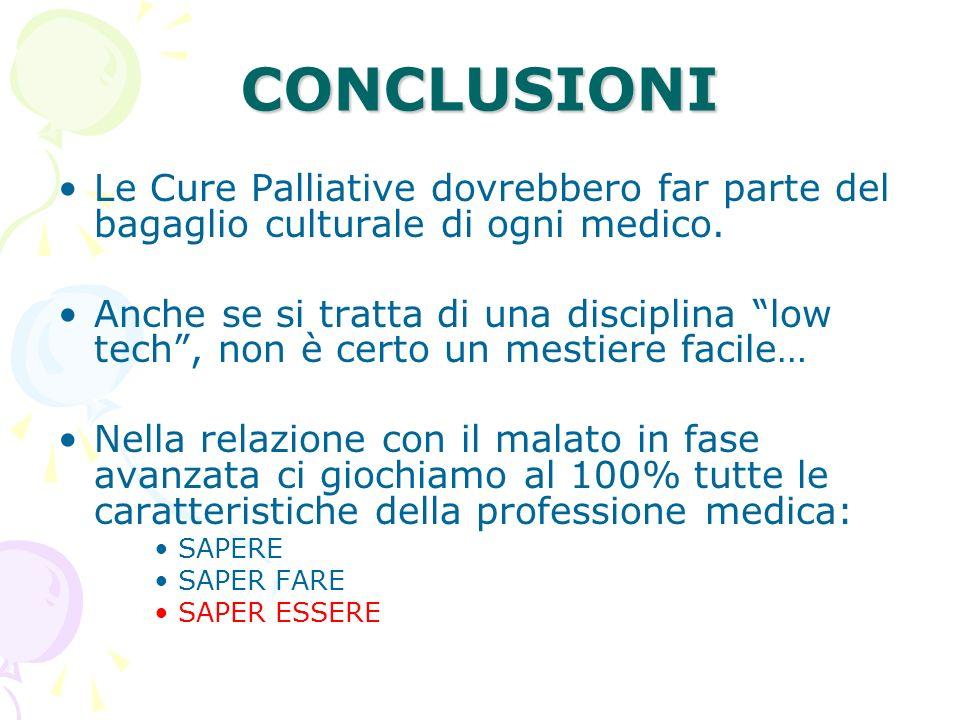CONCLUSIONI Le Cure Palliative dovrebbero far parte del bagaglio culturale di ogni medico. Anche se si tratta di una disciplina low tech, non è certo