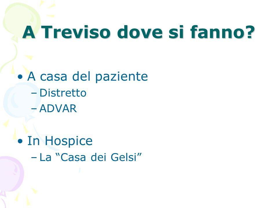 A Treviso dove si fanno? A casa del paziente –Distretto –ADVAR In Hospice –La Casa dei Gelsi