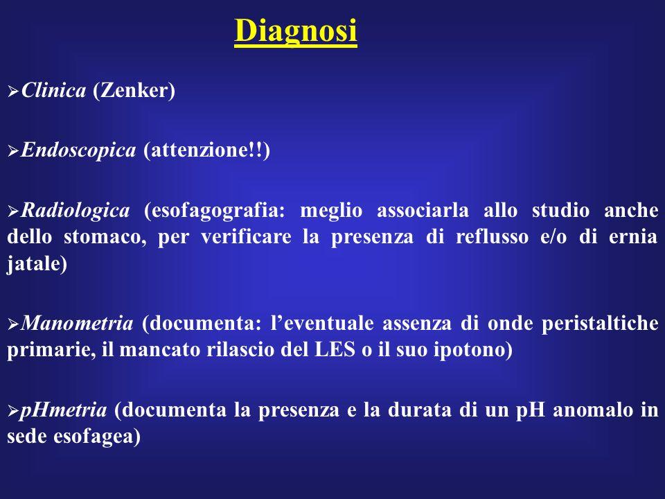 Diagnosi Clinica (Zenker) Endoscopica (attenzione!!) Radiologica (esofagografia: meglio associarla allo studio anche dello stomaco, per verificare la