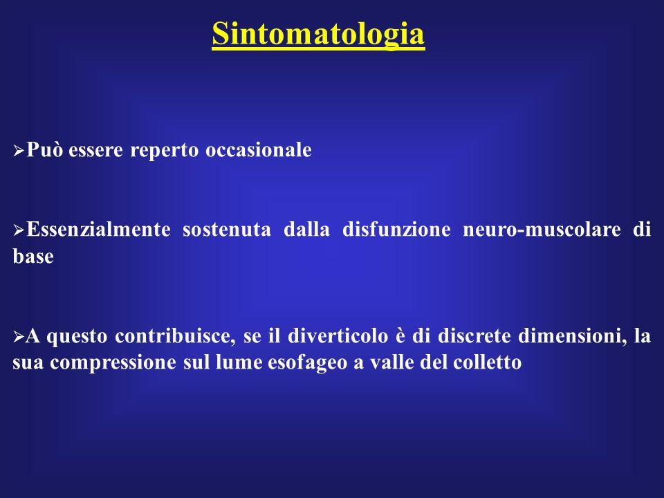 Sintomatologia Può essere reperto occasionale Essenzialmente sostenuta dalla disfunzione neuro-muscolare di base A questo contribuisce, se il divertic