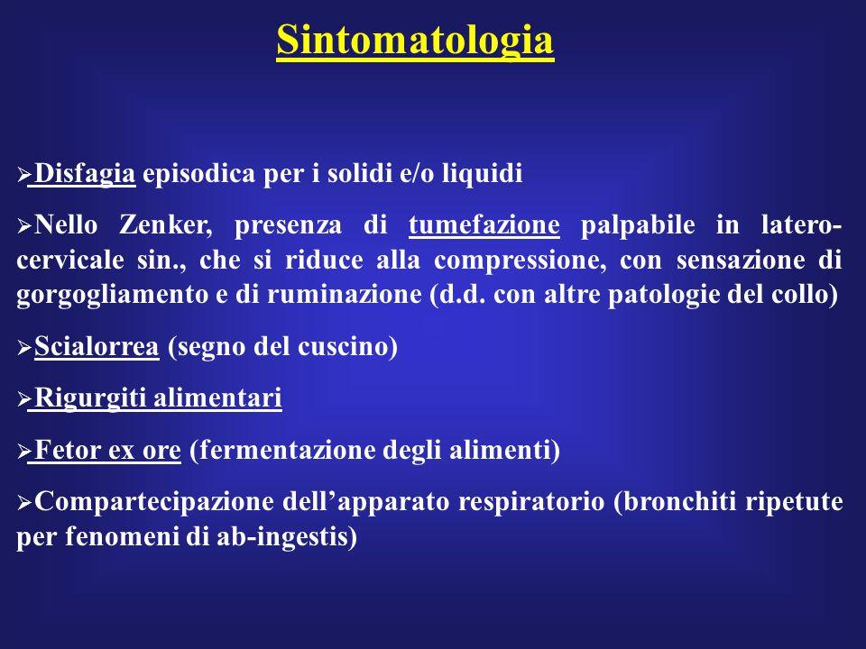 Sintomatologia Disfagia episodica per i solidi e/o liquidi Nello Zenker, presenza di tumefazione palpabile in latero- cervicale sin., che si riduce al