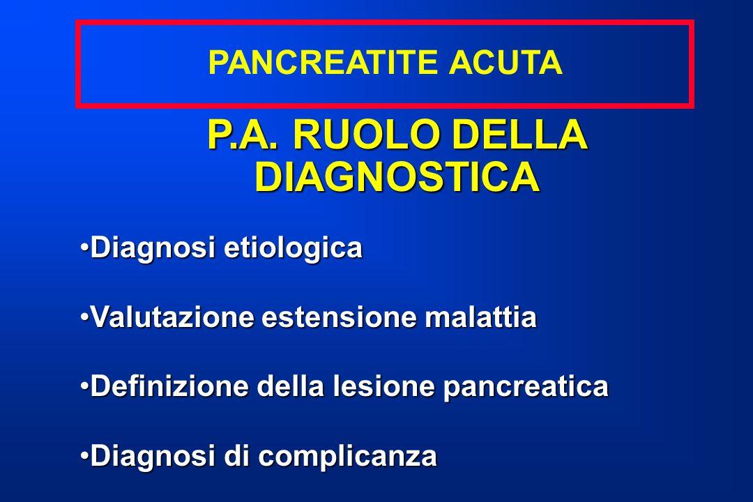 P.A. RUOLO DELLA DIAGNOSTICA Diagnosi etiologicaDiagnosi etiologica Valutazione estensione malattiaValutazione estensione malattia Definizione della l
